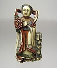 Contemporary Japanese Polychrome Netsuke:  Goddess Benzaiten
