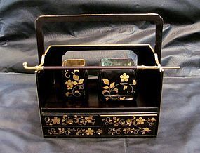 19th C. Japanese Black and Gold Lacquered Wood and Brass Tabako-Bon