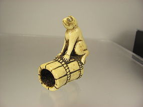 Early 19th C. Japanese Stag Antler Netsuke - Monkey on Barrel