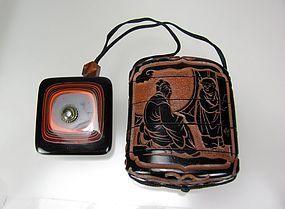 19th Century Japanese Lacquer/Cinnabar 4-case Inro, Netsuke, & Ojime