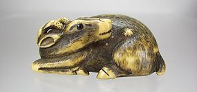 Late 18th C entury, Japanese Netsuke:  Recumbent Stag