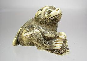 19th Century Japanese Netsuke:  Puppy with Awabi Shell