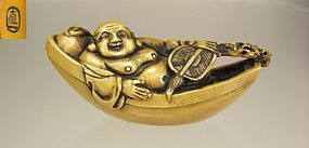 NAOKAZU, Early 19th Century Japanese Netsuke � Hotei  on a Boat