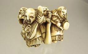19th Century Japanese Netsuke:  Musical Karakos