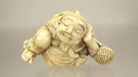 18th Century, Japanese Netsuke:  Sleeping Sarumawashii