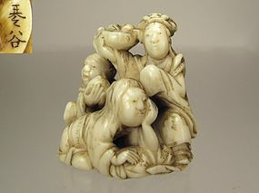 KIKOKU, 19th C. Japanese Netsuke:  Seiobo and Tobusaku