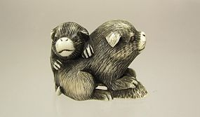 Early 19th Century,  Kioto School Netsuke of two Puppies