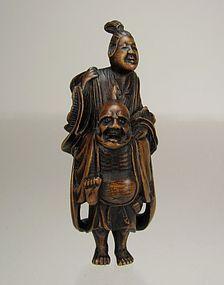 19th Century Japanese Wood Netsuke, IKKAKU SENNIN and Lady Sendaramo
