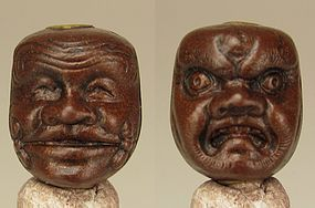 HOZAN, Early 19th C. Japanese Wood Lacquered Ojime - Double-Sided Mask