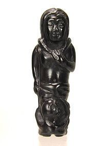 19th Century Japanese Ebony SHUNGA Netsuke, Ama w Basket and Octopus
