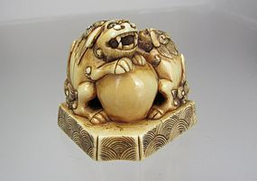 Early 19th C. Japanese Netsuke, Shishi with Ball, and Young