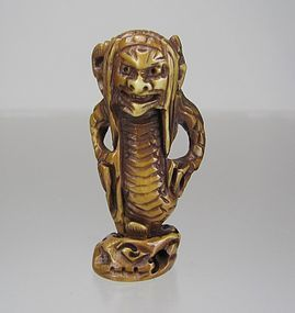 Japanese netsuke:  Mythical Animal / Demon