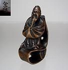 YOSAI, 19th C, Japanese Boxwood Netsuke, Scholar on Scroll