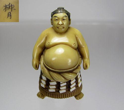 RYUGETSU, Meiji Japanese Netsuke:   Sumo Wrestler