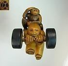 "DAVID CARLIN Contemporary Boxwood Netsuke ""Monkey on my Back"""
