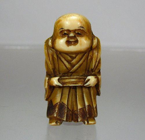 19th Century Japanese Netsuke:  Samurai Holding Box