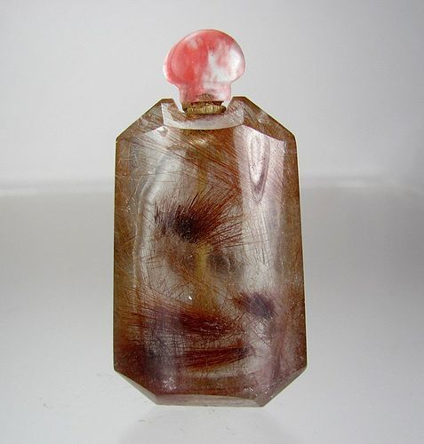 Antique Carved Rock Hair Crystal Snuff Bottle - Triangular Prism