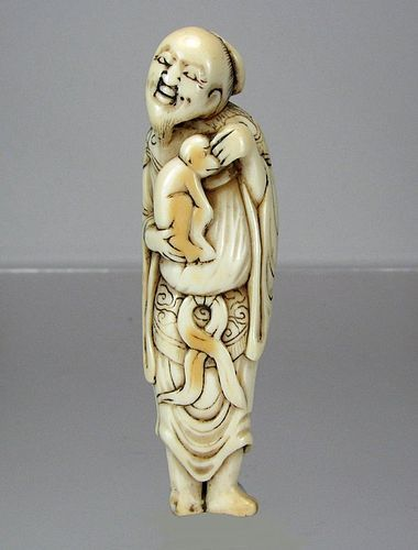 18th Century TALL Japanese Netsuke - Sennin with Monkey