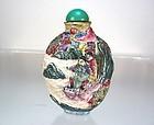 Antique Famille Rose Porcelain Snuff Bottle River Scene, Daoguang Mark