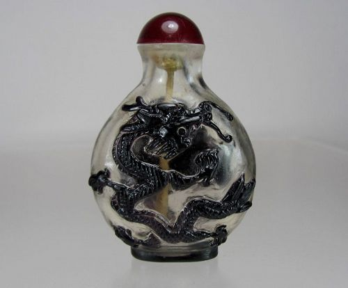 Early 19th C. Black Overlay on Transparent Glass Snuff Bottle - Dragon