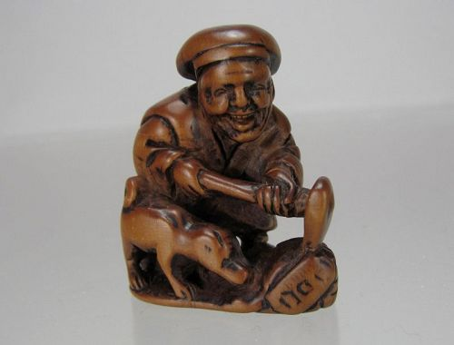 19th C. Japanese Boxwood Netsuke: Hanasaka Jiisan (������)