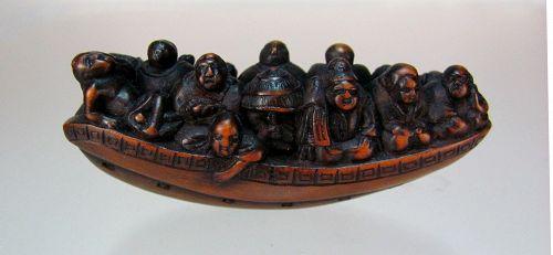 19th C. Japanese Boxwood Netsuke: Travelling Boat
