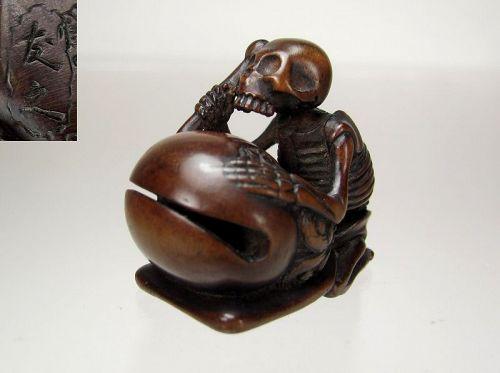 TOMOYUKI, 19th C. Japanese Boxwood Netsuke: Buddhist Priest Danka