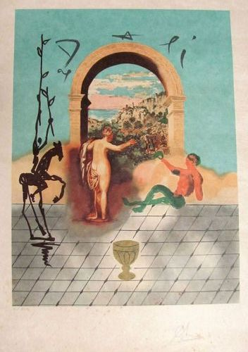 "SALVADOR DALI ""Gateway to the New World, Hand Signed Lithograph"