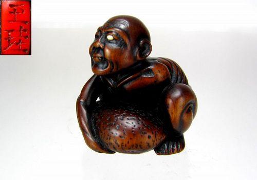 GYOKKEI, Superb 1800's, Japanese Boxwood Netsuke: Totsuka Beggar
