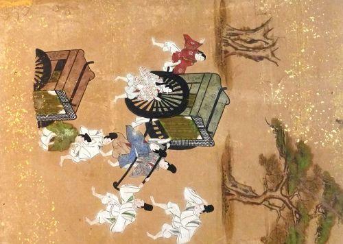 Japanese Edo Period Tosa School Monogatari SixPanel Silk Screen