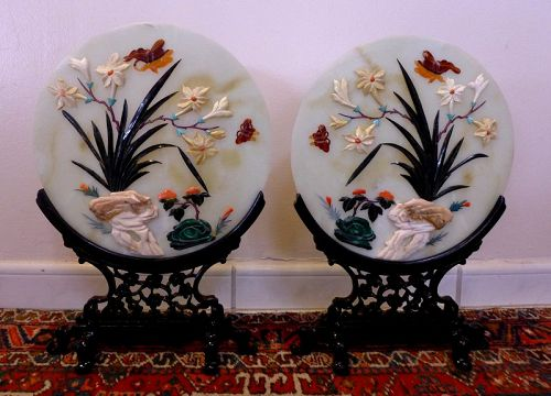 Gorgeous Pair of Twin Carved Jade & Semi-precious Stones Table Screen