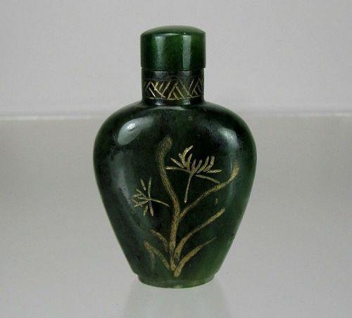 18th Century, Nephrite Sage-Green Jade Snuff Bottle, Qianlong Period