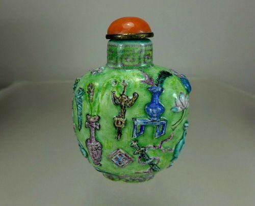 FAMILLE ROSE, Molded Enameled Porcelain Snuff Bottle, Guangxu Mark, 18