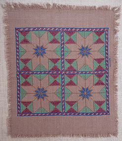 A Hazara embroidered cloth, 33x39 cm