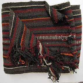A striped Tibetan woven sash in wool, mid 20th century