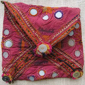 A silk mirrored purse from Afghanistan - Pashtun