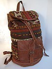 Uzbek leather kilim (ghudjeri) backpack