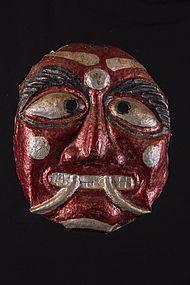 Painted Aluminium mask, Nepal, Himalaya