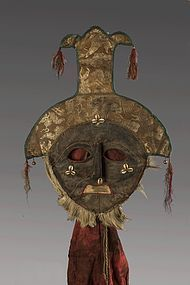 Leather and cloth mask, Tibet, Nepal