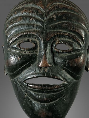 very old wrinkled mask, India, Nepal, Himalaya