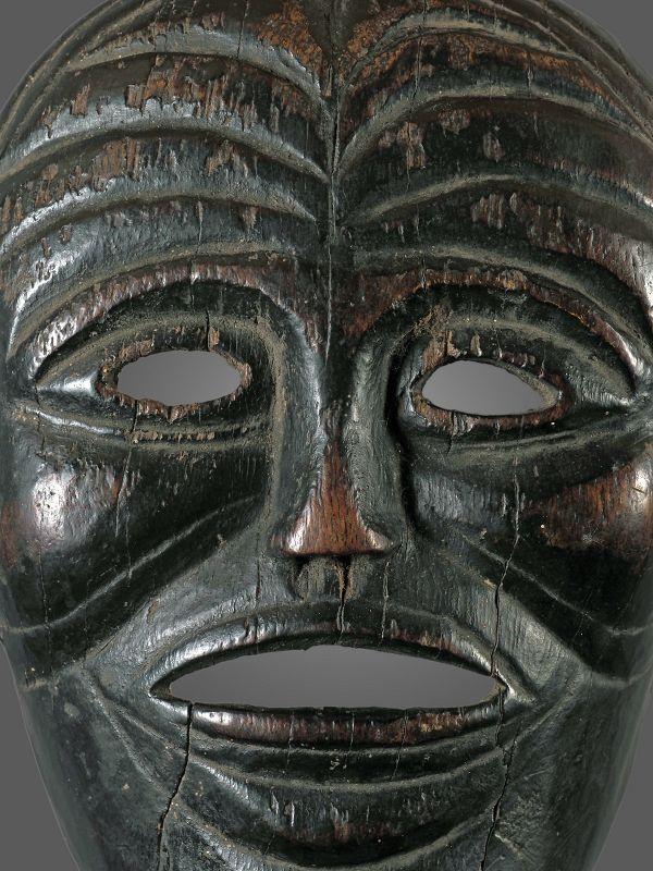 very old wrinkled mask, India, Nepal, Himalaya