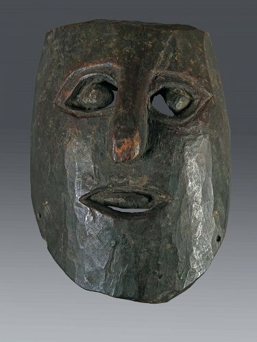 Minimal black anthropomorphic mask. Himalaya, Nepal