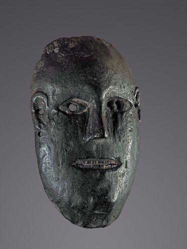 Old Black soot patina Mask from Magar people, Himalaya, Nepal
