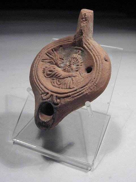 Roman Terracotta Disk Oil Lamp with Figures, 100-200 AD