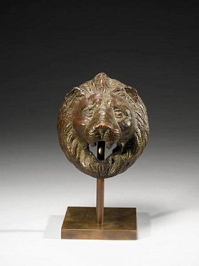 Roman bronze lion head handle, ca. 200-300 A.D.