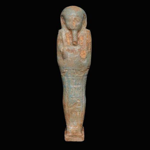 Egyptian faience ushabti for Padiusir, 600-300 B.C. (Late Period).