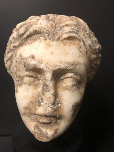 Ancient Roman Marble female head, 100-300 A.D.
