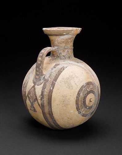 Cypriot Pottery ware barrel oinochoe, Cypro-Geometric, 1050-750 BC