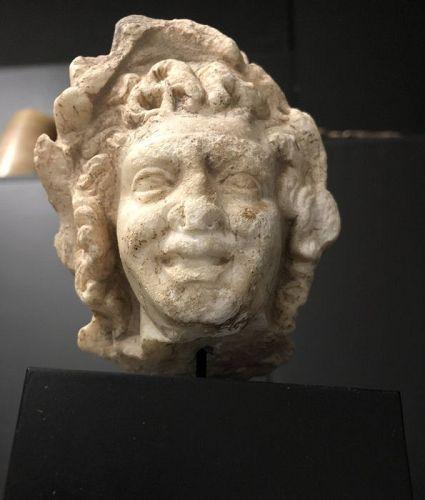 Ancient Roman Marble head of a satyr, Circa 1st-2nd century A.D.