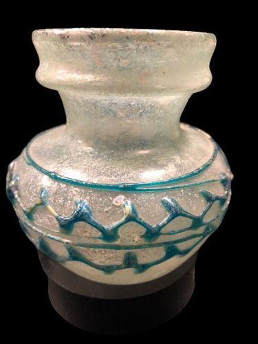 Ancient Roman Glass jar with blue decoration, 300 A.D